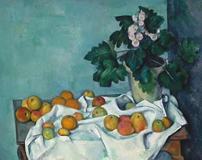 Still Life with Apples and a Pot of Primroses Paul Cezanne